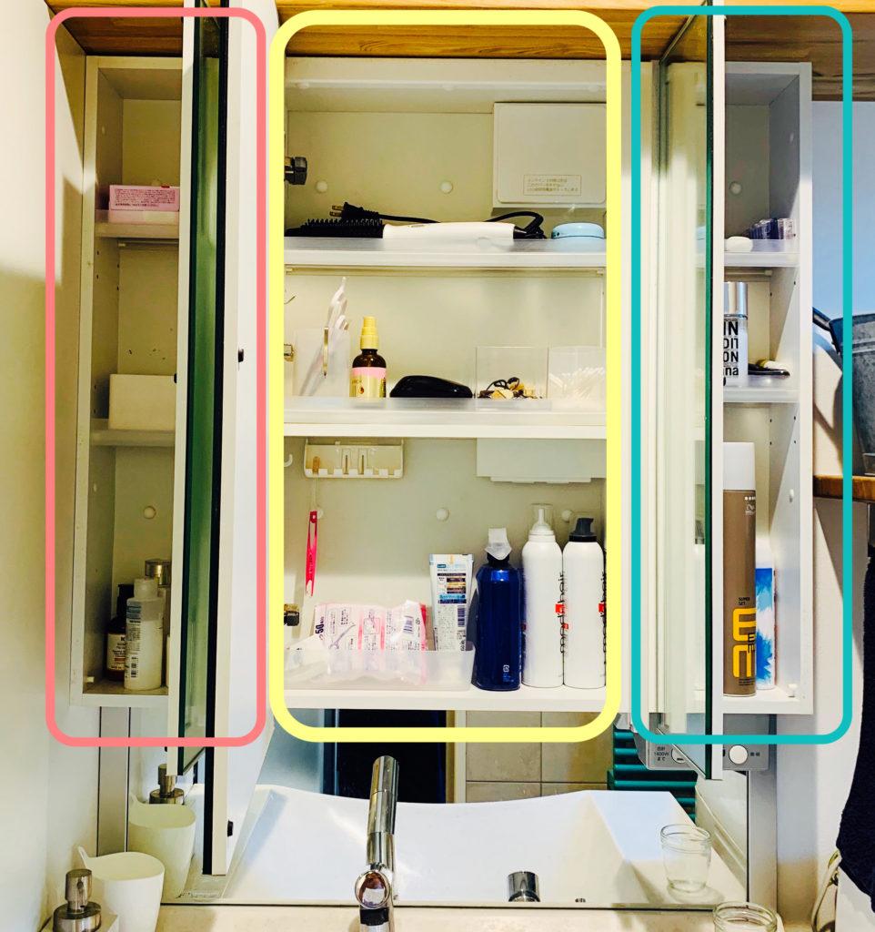三面鏡裏収納スペース
