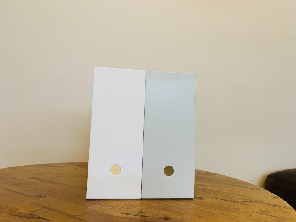 ニトリと無印良品のファイルボックスの側面