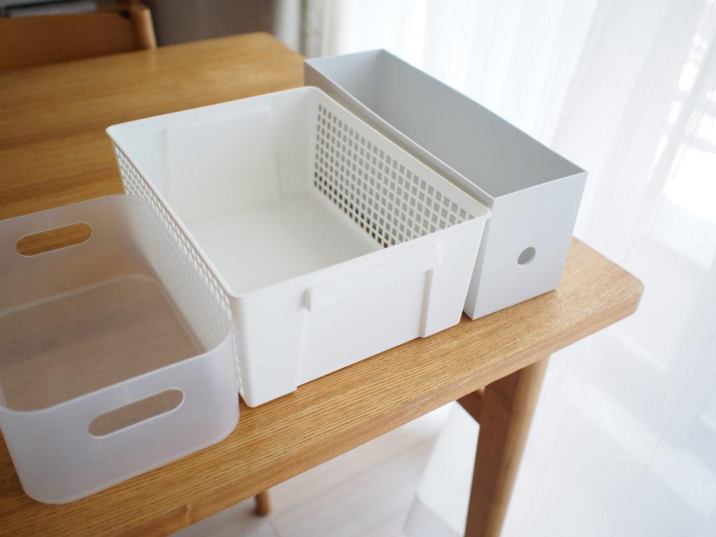 無印良品ポリプロピレンメイクボックス、セリアプレンティボックス、無印良品ポリプロピレンファイルボックス