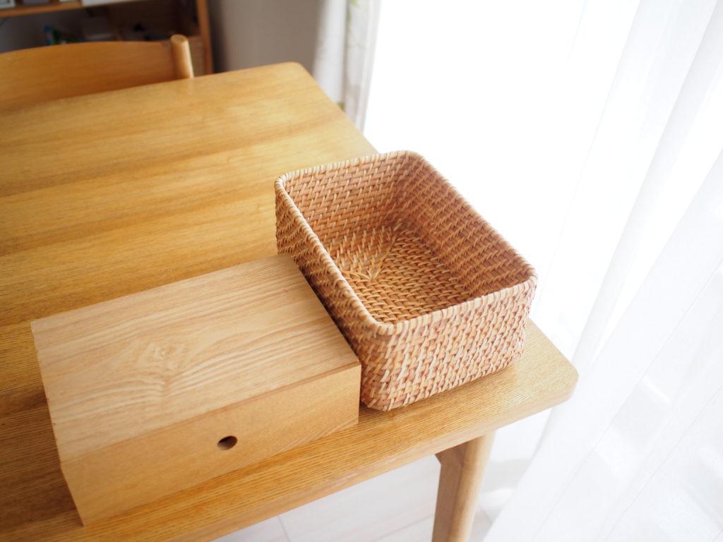 無印木製小物収納、ラタン長方形ボックス