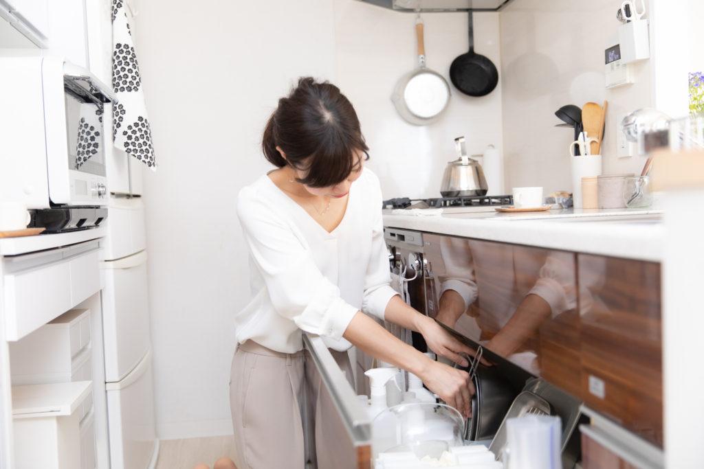 キッチン、片付け中