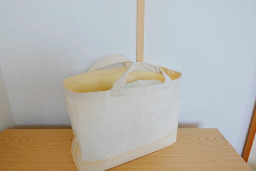 無印良品持ち手付帆布長方形バスケット