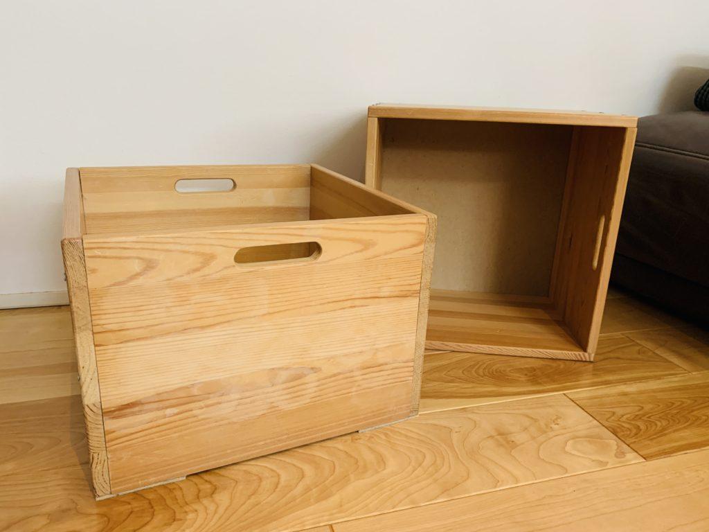 無印良品のパイン材収納ボックス